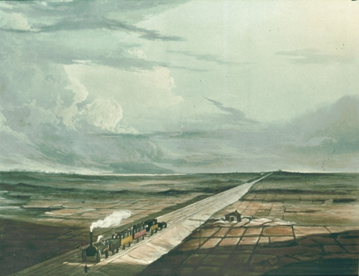 Railway Across Chat Moss, Coloured View of the Liverpool and Manchester Railway II