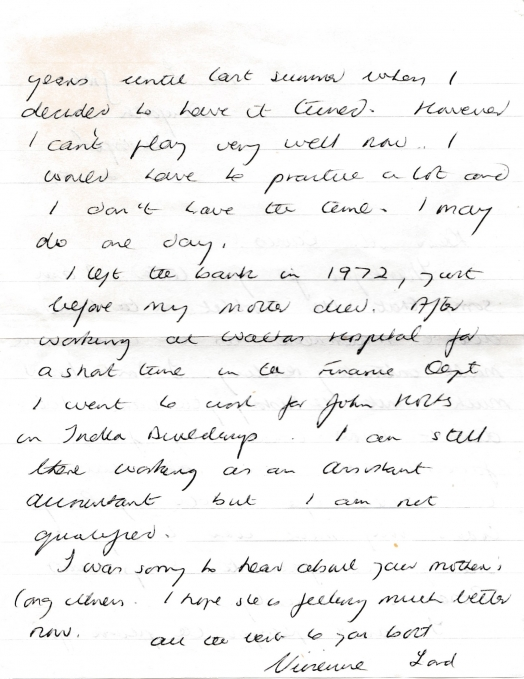 Letter from Vivienne Lord to Mr. Russell Davies 20th February 1981 page 2