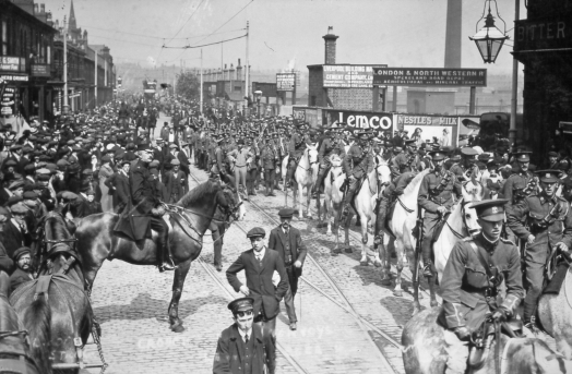 Troops marching on Tunnel Road during the 1911 Transport Strike