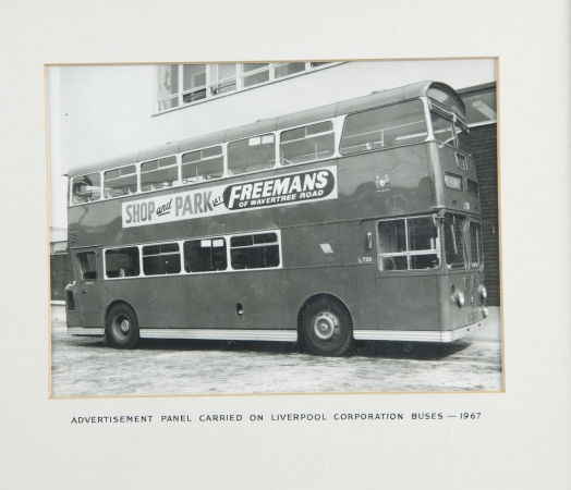 Advertisement panel carried on Liverpool Corporation buses 1967