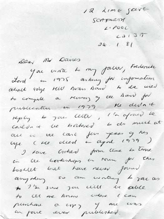 Letter from Vivienne Lord to Mr. Russell Davies 24 January 1981