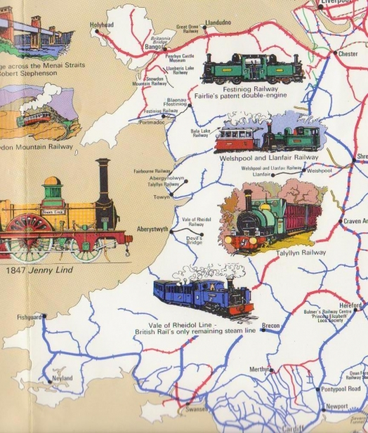 Railway History Map of Britain - Wales