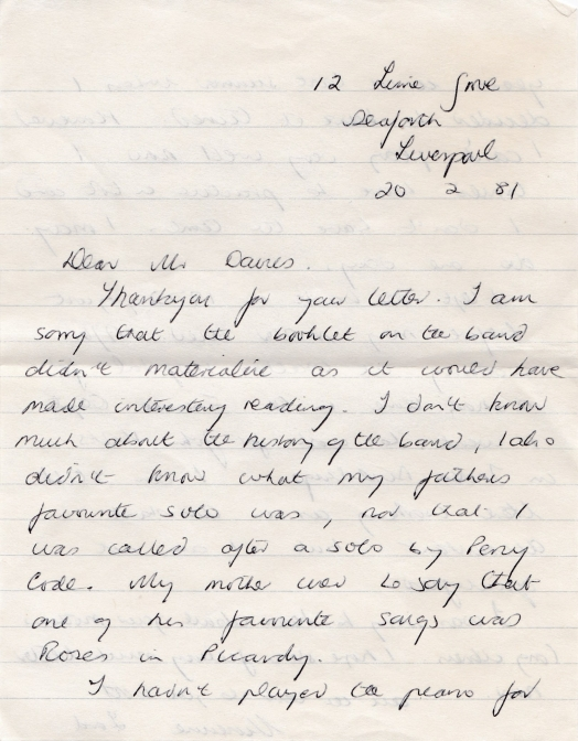 Letter from Vivienne Lord to Mr. Russell Davies 20th February 1981