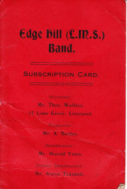 Cover of an Edge Hill Brass Band subscription card